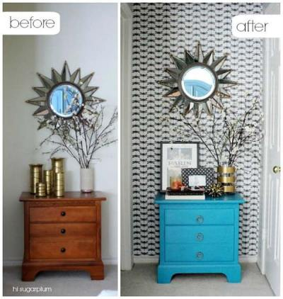 27 Cool DIY Furniture Makeovers with Wallpaper