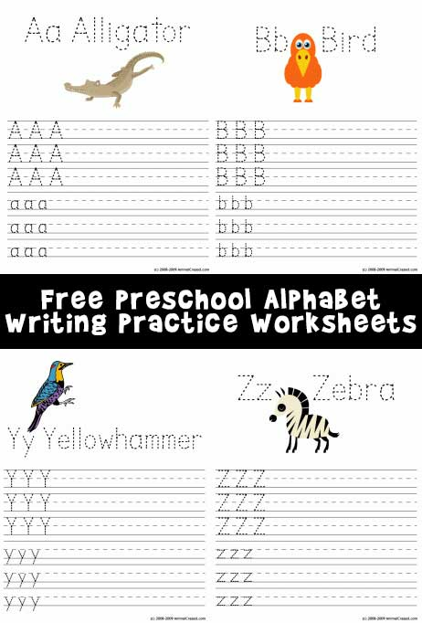 Printable Alphabet Writing Worksheets A-Z Animals Woo! Jr Kids