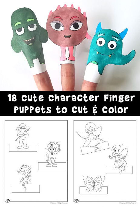 Printable Finger Puppets to Cut and Color Woo! Jr Kids Activities
