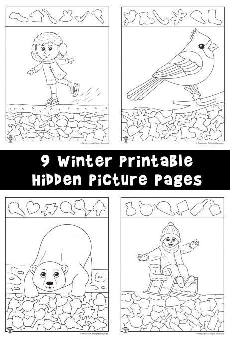 Winter Hidden Pictures Coloring Pages Woo! Jr Kids Activities