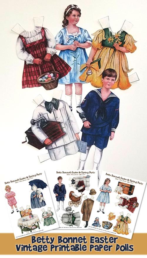 Easter Betty Bonnet Printable Vintage Paper Dolls Woo! Jr Kids