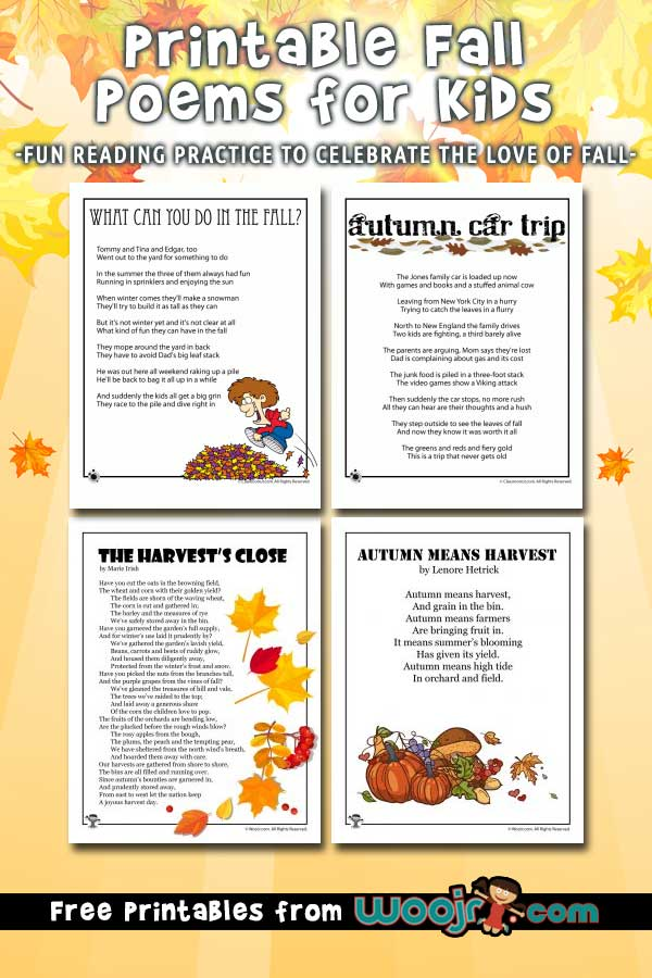 Fall Kids Poems to Print Woo! Jr Kids Activities