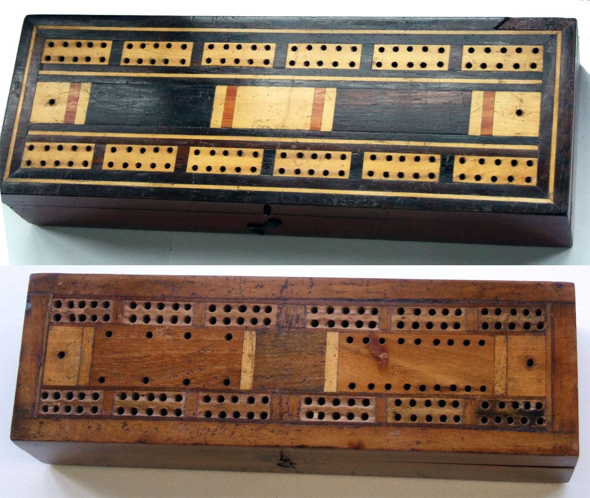 Above two double box cribbage boards varying in quality from the highly polished veneered victorian example and a more basic version from the same period