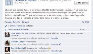 LLamadas gratis por Facebook Messenger