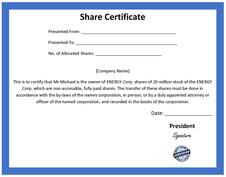 Share certificate template costumepartyrun 4 share certificate templates word yelopaper Gallery
