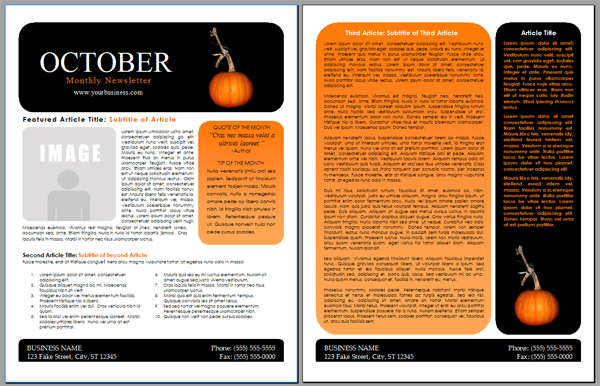 WordDraw - Free Halloween Newsletter Templates