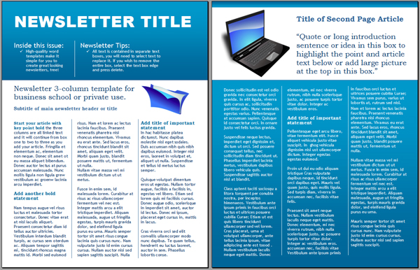 Newsletter Template Word - Template