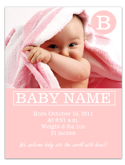 baby birth announcements templates for free - Leonescapers