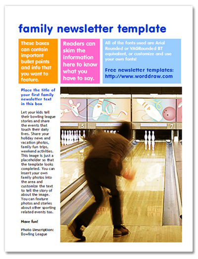 Free Family Newsletter Templates for Microsoft Word from WordDraw - free newsletter templates for word