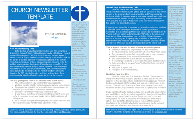 free church newsletter templates microsoft word - Gottayotti