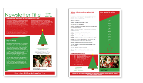WordDraw - Free Christmas Newsletter Templates - Newsletter Templates Free Word