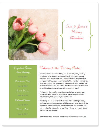 WordDraw - Free Wedding Newsletter Template for Microsoft Word