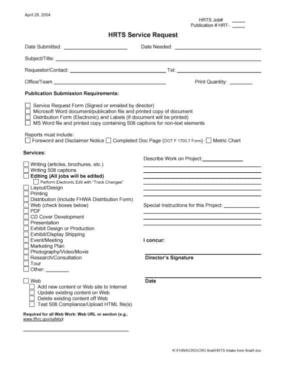 service request form template word - Goalgoodwinmetals