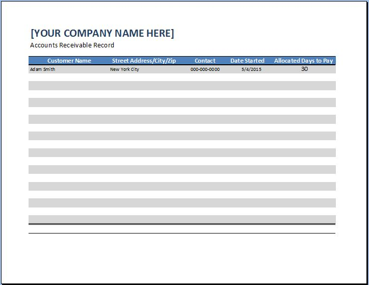 General Business Account Receivable Template Word  Excel Templates
