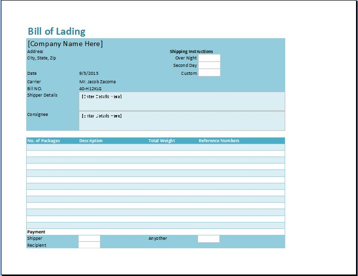 word bill of lading template