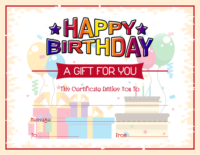 Colorful Birthday Gift Certificate Template Word  Excel Templates - gift certifcate template