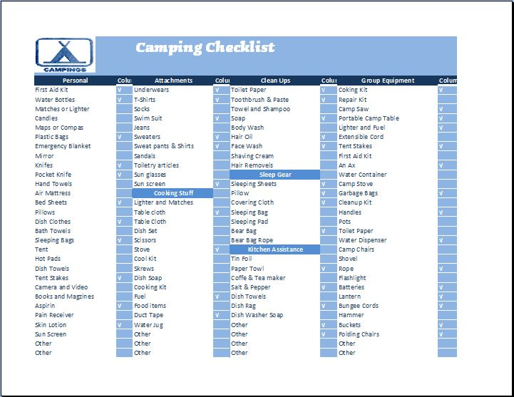 camping checklist template - Onwebioinnovate - camping checklist template