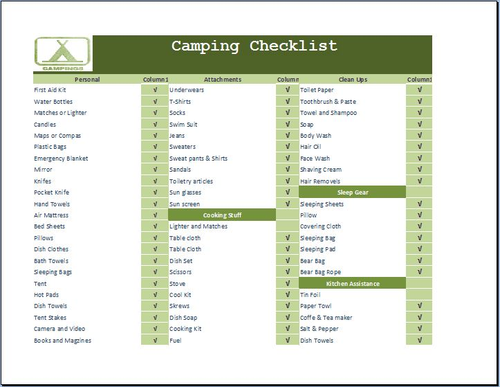 Camping Necessities Checklist Template Word  Excel Templates - camping checklist template