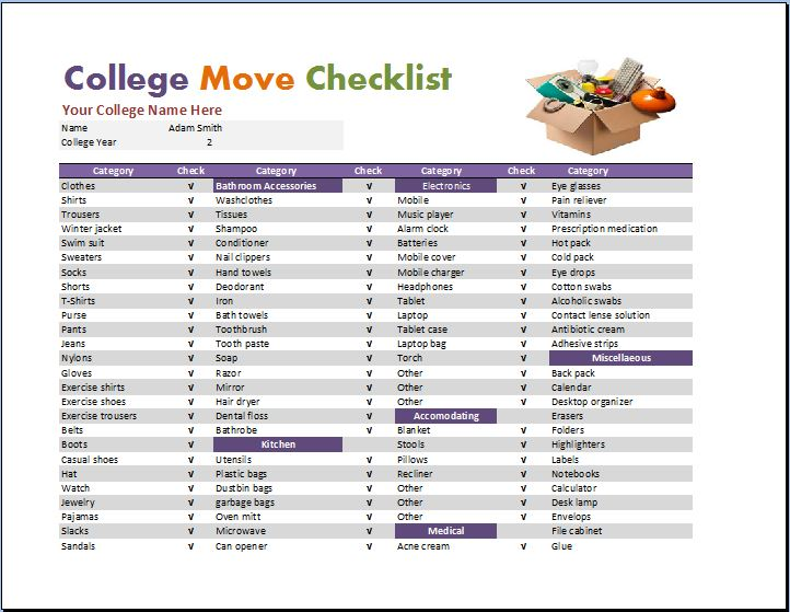 Sample College Checklist Ultimate College Checklist And Special - moving checklist template