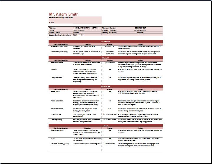 estate planning template excel - Minimfagency