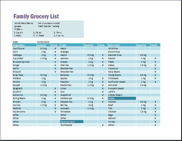 Family Schedule Grocery List Template Word  Excel Templates - grocery list template word