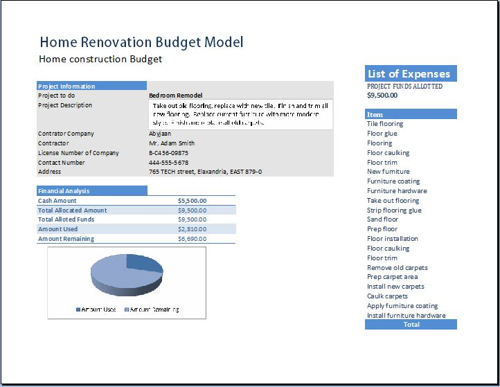 Home Renovation Model Template Word \ Excel Templates - renovation checklist template