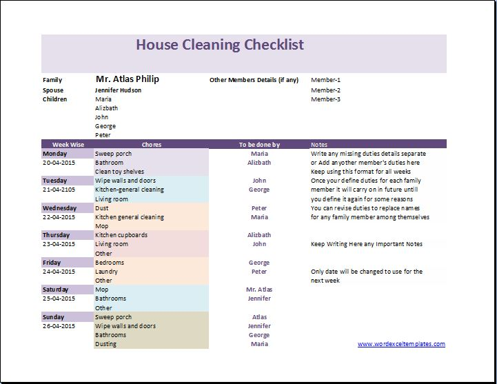 My House Cleaning Checklist Template Word  Excel Templates