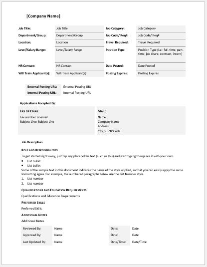 Comprehensive Job Description Template Word  Excel Templates