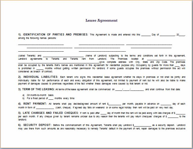 lease agreement template word document - Boatjeremyeaton - lease template word