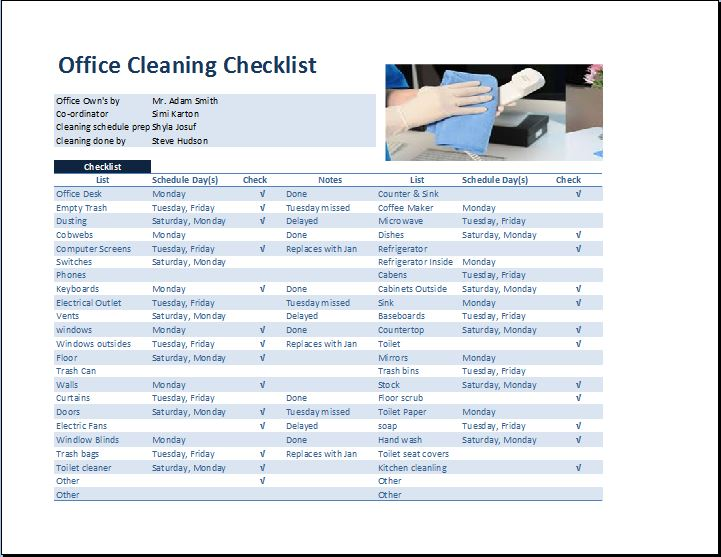 office housekeeping checklist - Muckgreenidesign - housekeeper cleaning checklist