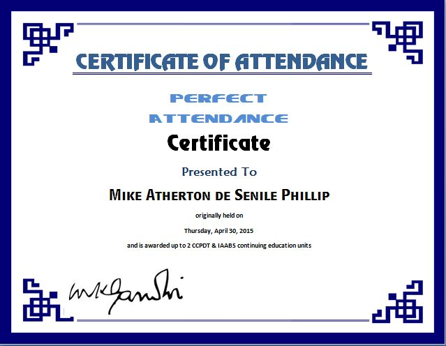 Perfect Attendance Certificate Template Word  Excel Templates
