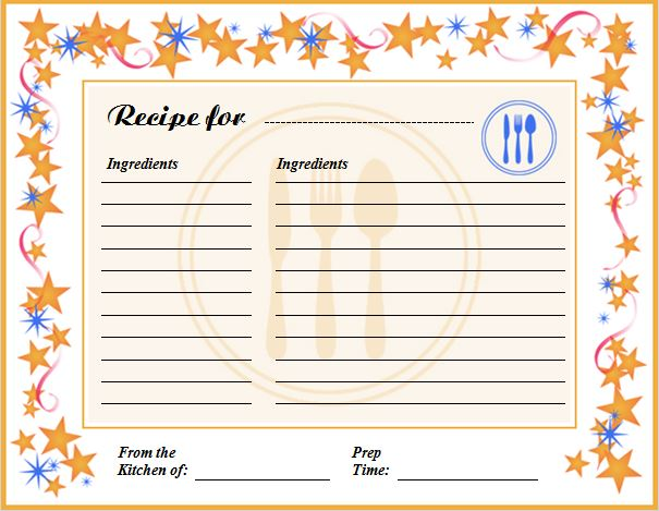 Creative Professional Cooking Recipe Card Template Word  Excel