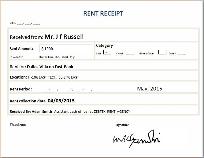rent receipt excel - Onwebioinnovate - Free Download Receipt Format In Excel