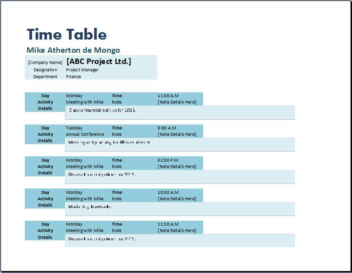 Creative Formal Design Timetable Template Word  Excel Templates - time table excel
