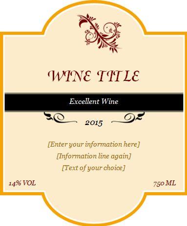 Custom Design Wine Label Templates Word  Excel Templates