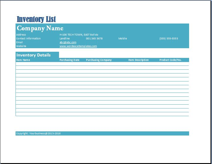 Formal Business Inventory List Template Word  Excel Templates - company inventory template
