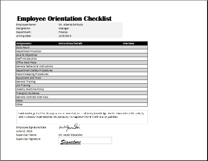 new employee orientation checklist excel - Onwebioinnovate - new hire checklist template