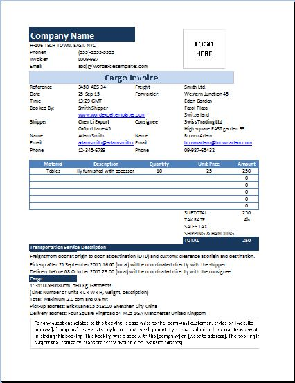 MS Excel Cargo Invoice Template Word  Excel Templates - invoice forms templates