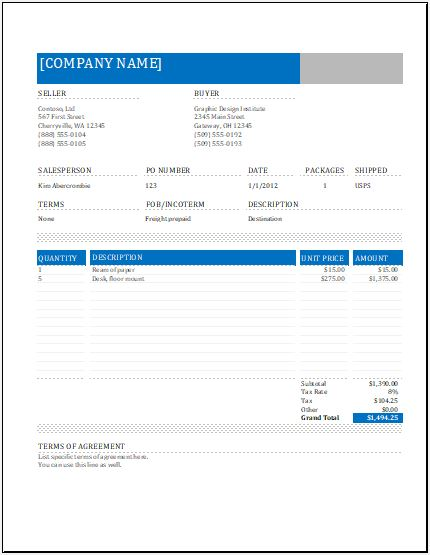 MS Excel Shipping Sales Invoice Word \ Excel Templates - commercial shipping invoice