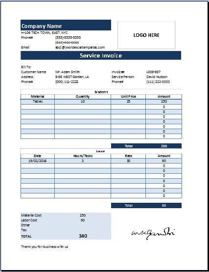 MS Excel Customer Service Invoice Template Word  Excel Templates