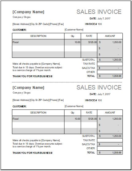 MS Excel Sales Invoice Template Word  Excel Templates