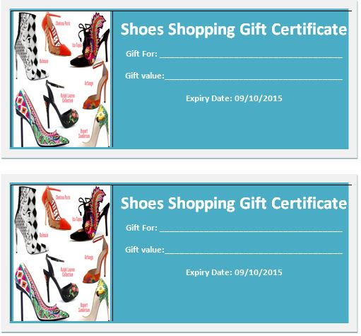 Word Shoes Shopping Gift Certificate Template Word  Excel Templates - gift certifcate template