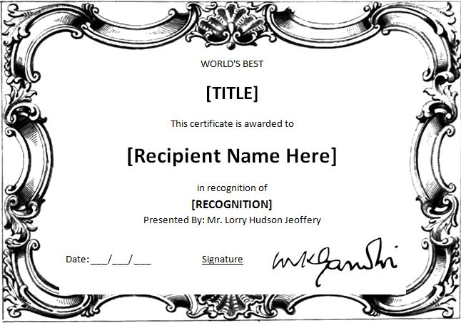 MS Word World\u0027s Best Award Certificate Template Word  Excel Templates