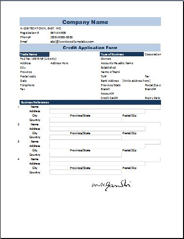Credit Application Form Template Word  Excel Templates - credit application