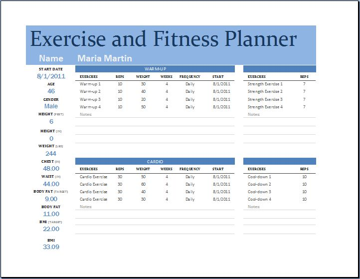 Exercise and Fitness Planner \u2013 Word  Excel Templates