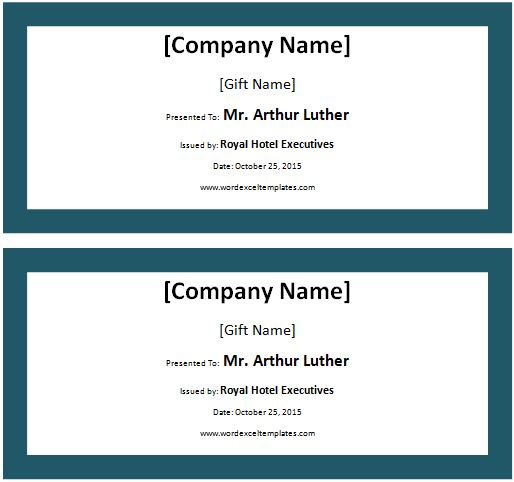 excel gift certificate template - Onwebioinnovate