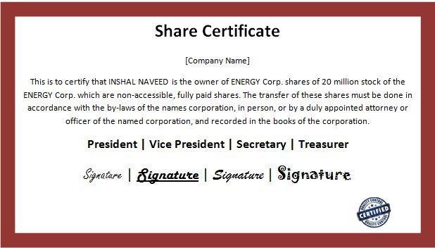 Customizable Business Share Certificate Templates Word  Excel