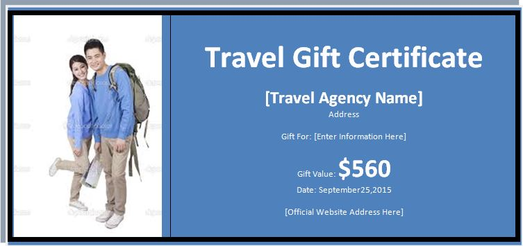 Travel gift certificate \u2013 Word  Excel Templates