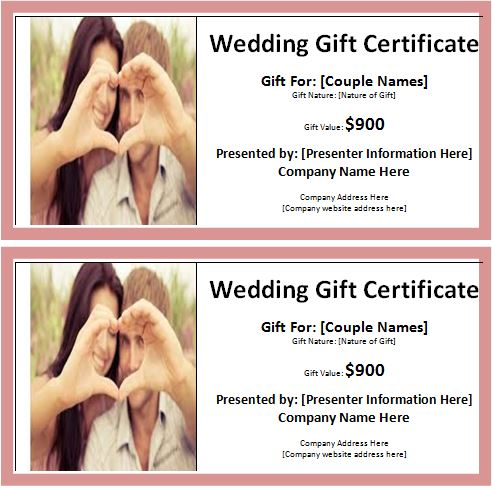 Wedding Gift Certificate Template Images - Wedding Decoration Ideas