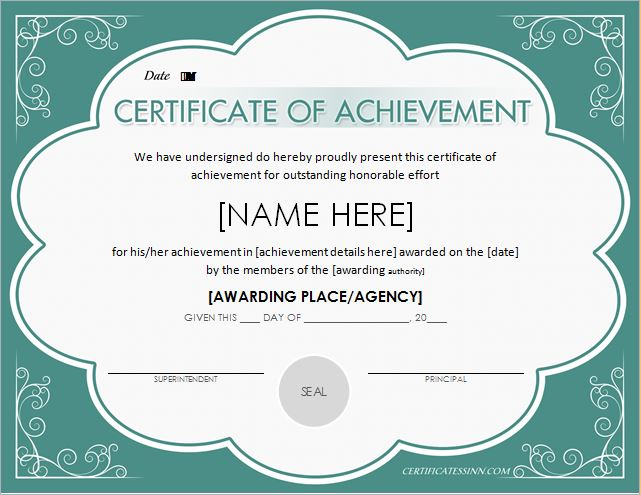 Free Engraved Certificate Of Achievement Templates At 7 Free